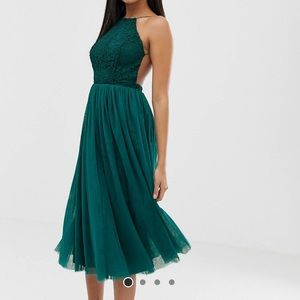 ASOS DESIGN lace top tulle midi dress